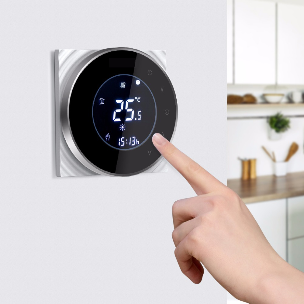 Wifi Water Gas Boiler Thermostat Backlight 95 240VAC 3A LCD Touch Screen Works with Alexa Google