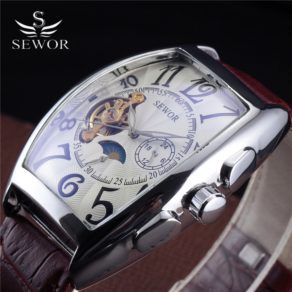 Sewor Relogio Masculino Limited Edition Tonneau Leather Strap Automatic Self-Wind Moon Phase Men's Tourbillon Mechanical Watches цены онлайн