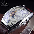 Sewor Relogio Masculino Limited Edition Tonneau Leather Strap Automatic Self-Wind Moon Phase Men's Tourbillon Mechanical Watches