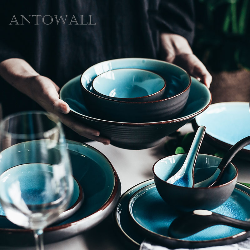 ANTOWALL Ice crack tableware set household ceramic bowl long fish dish plate sauce dish chopsticks holder microwave available