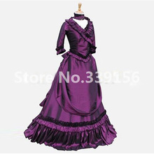 Victorian Purple Dress French Bustle Queen Gown Reenactment Theater Clothing