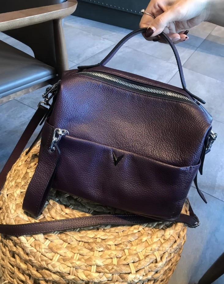 Sacs à bandoulière en cuir véritable femmes Vintage oreiller en cuir de vache sac à main de femme pour fille dames solide décontracté messenger sacs tot - 4