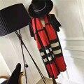 2016 Nova Moda Inverno Cachecóis Mulheres Fox Bandana Cachecol Cobertor Cashmere xadrez Vermelho Quente Foulard Soie Femme Marque De Loop cachecol