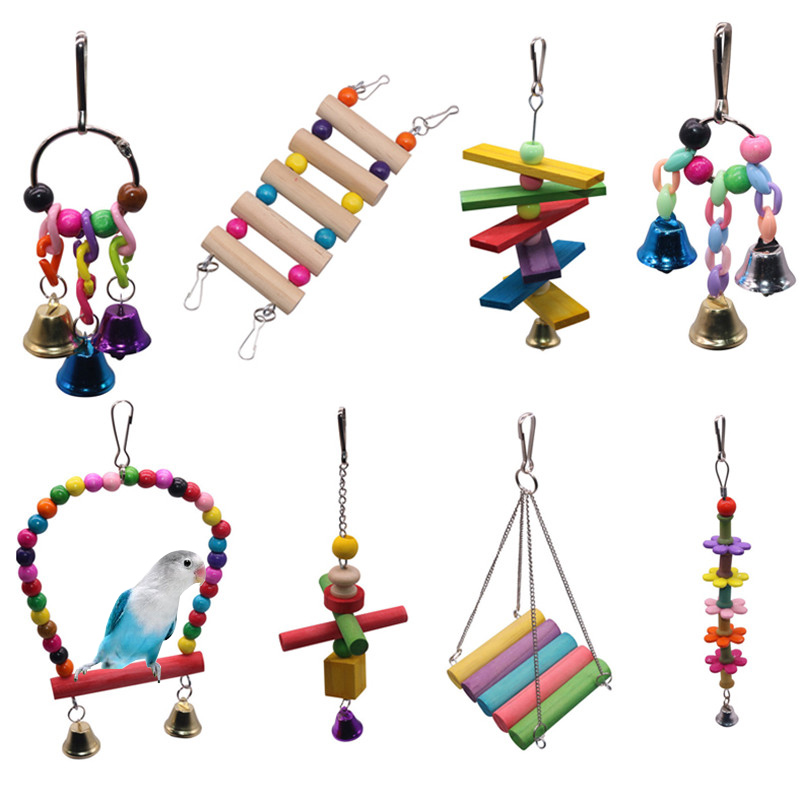 1 pcs Birdcage Accessories Solid Wood Bird Bite Toy Parrot Hanging Jewelry Training Bird Accessories Home Decoration Supplies