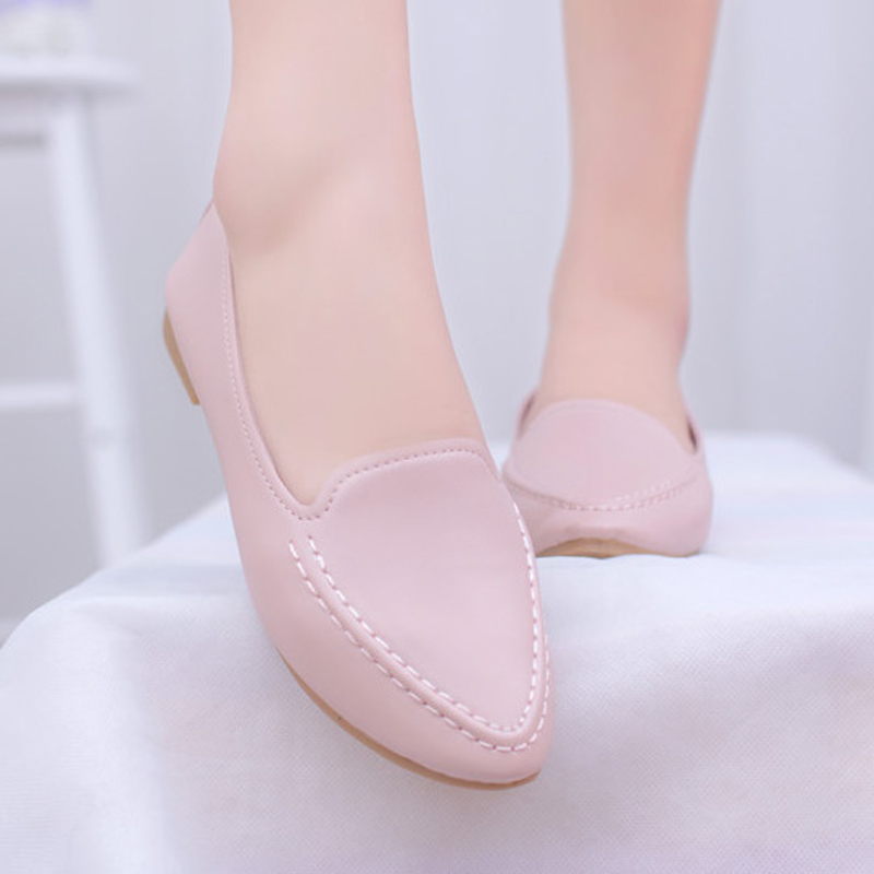 Hot Sale 2016 New Fashion Summer Pointed Toe Flat Woman Shoes Leisure Comfortable Wild Ladies Flats White Pink Size 35-40 ST214 2017 new fashion spring ladies pointed toe shoes woman flats crystal diamond silver wedding shoes for bridal plus size hot sale
