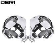 Mini proyector de Bixenón HID de 2,5 pulgadas, lente de Faro de automóviles, Kit de lentes + soles plateados, estilo de coche H1 H4 H7