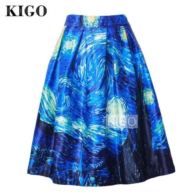 KIGO Summer Retro Rockabilly Midi Skirt Vintage Pleated Skirt Van Gogh Starry Sky Oil Painting Print High Waist Skirt K20
