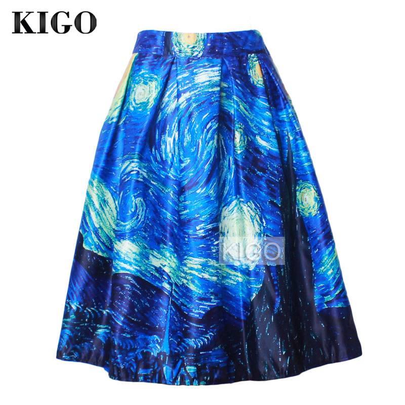 Летняя плиссированная ретро юбка KIGO, винтажная юбка пачка с высокой талией и принтом звездного неба K20 skirt table painting blackberryskirt love   АлиЭкспресс
