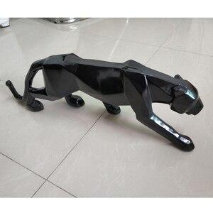 Image 5 - מודרני מופשט שחור פנתר פיסול גיאומטרי שרף נמר פסל חיות בר מתנת מלאכת קישוט אביזרי ריהוט