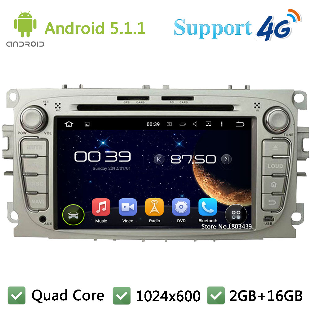 Quad Core 7″ 1024*600 Android 5.1.1 Car Multimedia DVD Player Radio Stereo PC DAB+ 3G/4G WIFI GPS Map For Ford Focus 2007-2011
