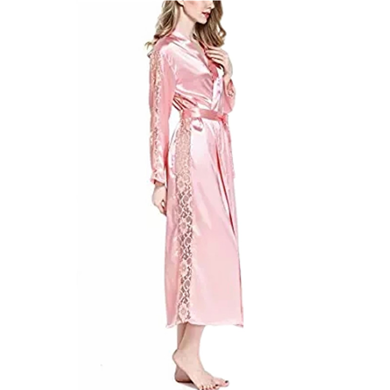 Sexy Lace Trim Satin Kimono Robes Bridesmaid Bathrobe Long Nightgown Sleepwear Dressing Gown For Women 3 Colors Availabl