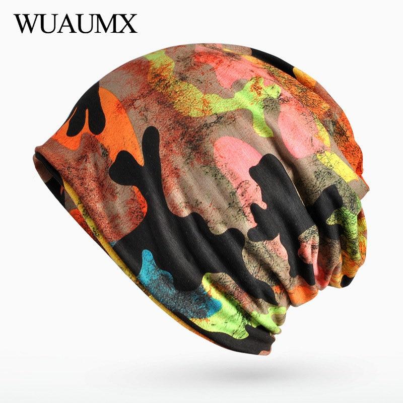 Wuaumx Fall Winter Hats For Women Men Camouflage Turban Hats Velvet Ring Scarf   Skullies     Beanies   Knitted Cap Bonnet czapka zimowa