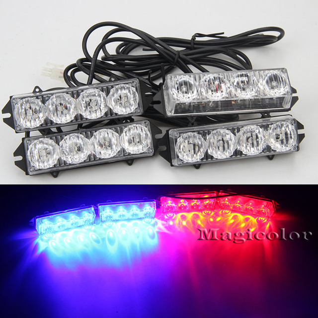 Aliexpress buy high quality 16led red blue car truck strobe high quality 16led red blue car truck strobe emergency warning light bars deck dash front bumper aloadofball Image collections