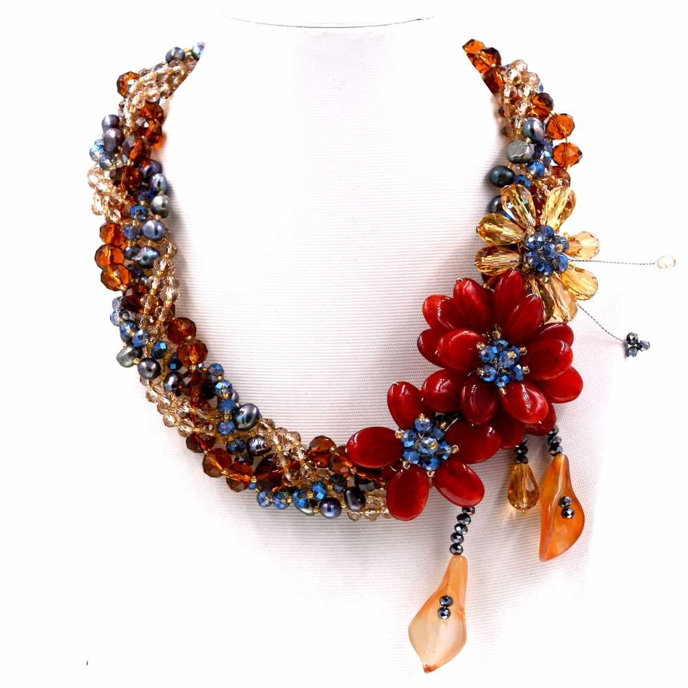 2017 Europe brand Luxury crystal carnelian freshwater pearl wrap necklace female vintage jewelry
