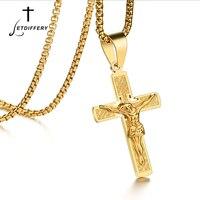 Letdiffery Mesih İsa Haç Kolye Paslanmaz Çelik Altın Renk Haç İsa Kolye Için Paskalya Hediye