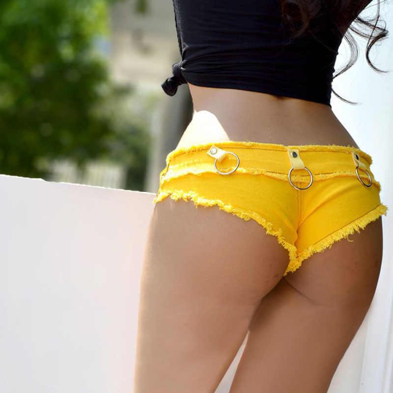 1 個レディースセクシーなジーンズはショートパンツ 2019 夏のファッションの綿セクシーな鉄フープショーツレディーススキニースーパーショートデニム若い女性