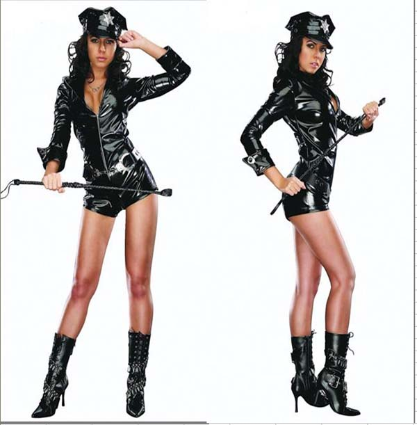 high quality cop costumes adult sexy halloween costume lingerie police cop pvc uniform fancy dress costumes - High Quality Womens Halloween Costumes