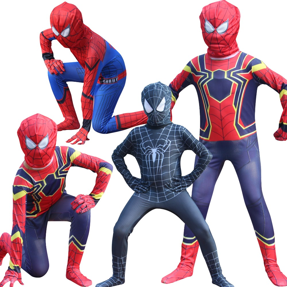 Red black spiderman carnival/halloween costume Tights Suit spiderman with mask for kids The entire Superhero Bodysuit Jumpsuits