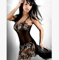 New 2016 black Perspective mesh women's slips ladies sexy lingerie pyjama plus size M-XXXL
