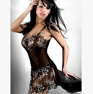 New 2016 black Perspective mesh women's slips ladies sexy lingerie pyjama plus size M-XXXL
