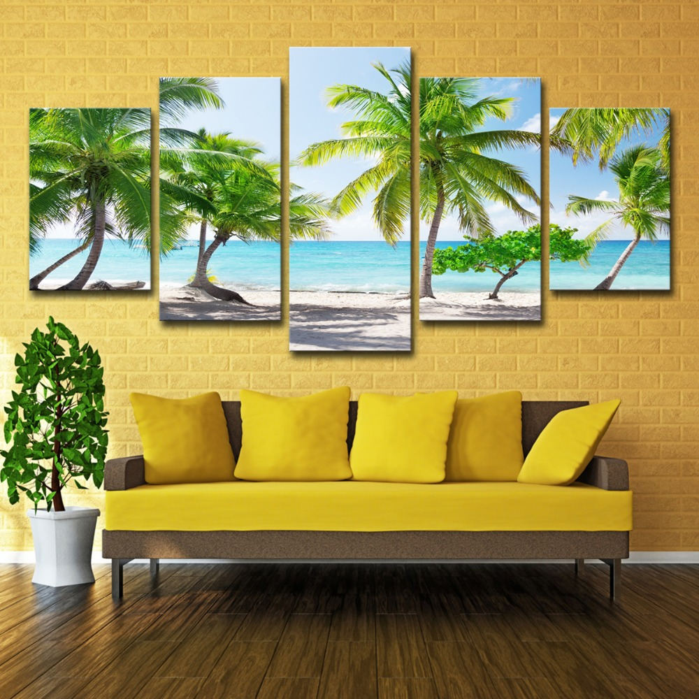 5P0147 HD Printed Canvas Poster Home Decor Modular Pictures Frame 3 Pieces Santa Catalinna Island Beach Coconut Trees Paintings PENGDA (5)