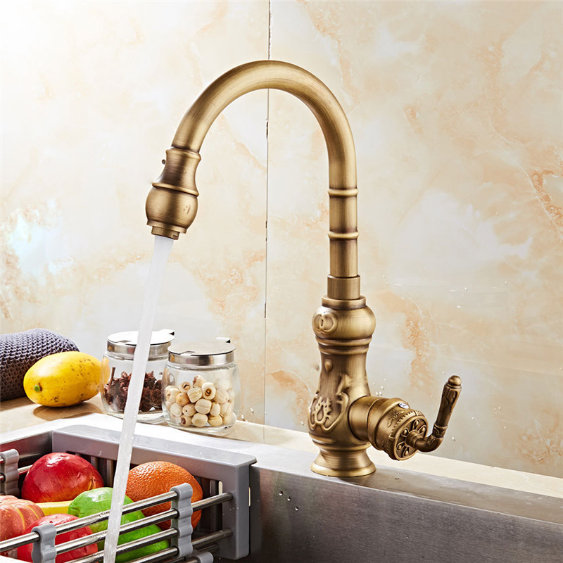 Permalink to Kitchen Faucet Antique Brass Carved Kitchen Faucet Copper Swivel Kitchen Sink Mixer Tap Crane Faucet Hot Cold Cocina Torneira
