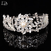 High Quality Flowers Design Jewelry Bridal Crown Diadem Austria Crystal Glass Pearl Hair Clip Accessories Hairpins