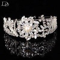 high quality flowers design jewelry bridal crown diadem austria crystal glass pearl hair clip accessories hairpins women F018