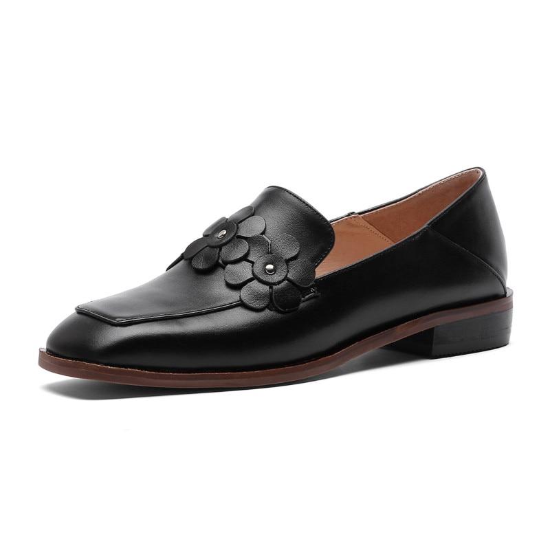 Ofords Mocassins Beige Beige Main Sur Femme Xiuningyan Cuir Britannique Femmes Chaussures Casual Slip Style En Appartements Noir noir Véritable TqRvw7A