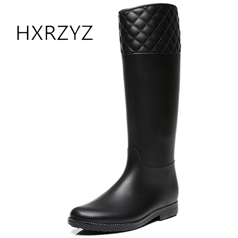 HXRZYZ women knee high boots rubber rain boots 2017 new fashion female slip-resistant waterproof spring/autumn women black shoes