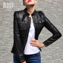 Black genuine leather jackets women 100% lambskin motorcycle jacket coats veste cuir veritable pour femme abrigos mujer LT191
