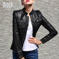 Negro chaquetas de cuero genuino de las mujeres 100% de piel de cordero chaqueta de la motocicleta abrigos veste cuir pour femme verdadera abrigos mujer LT191