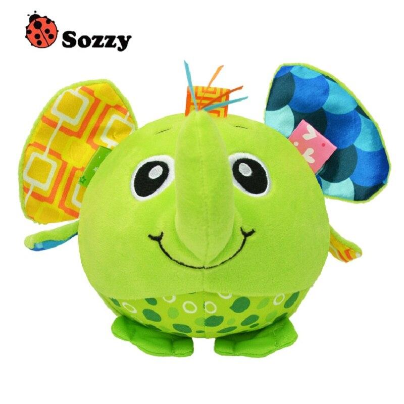 Juguetes de peluche de dibujos animados de bebé Sozzy, juguete educativo con cascabel suave de León búho mono, juguete educativo para edades tempranas, agarre de mano para bebé, bola apaciguada