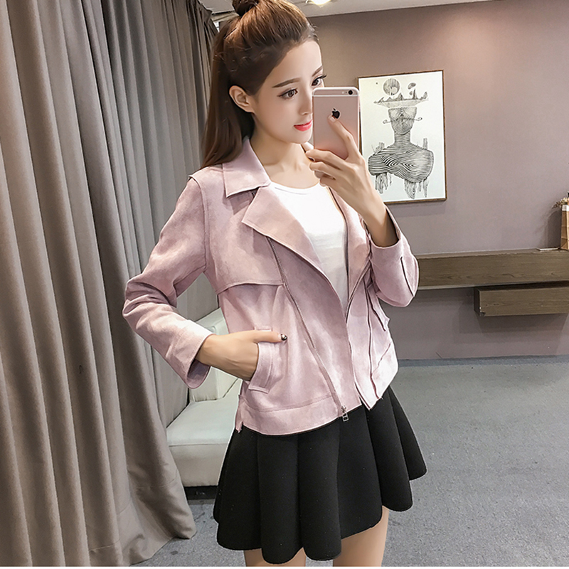 high quality New Autumn spring Fashion suede Short soft faux Leather Jacket Slim pink grey S XL Leather Coat Drop Free ship