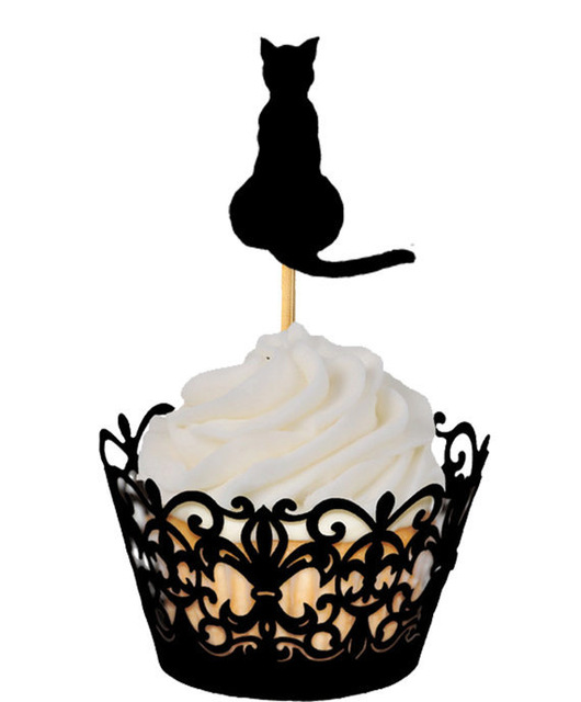 <font><b>cats</b></font> <font><b>cupcake</b></font> <font><b>toppers</b></font> pet party Food Picks toothpicks wedding bachelorette bridal shower party decorations image