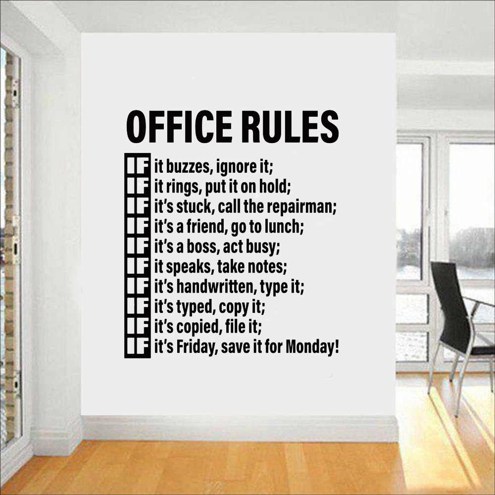 Office Rules Vinyl Wall Sticker Room Space Decoration Idea Decor Removable Workplace Wall Tattoo Decals Teamwork