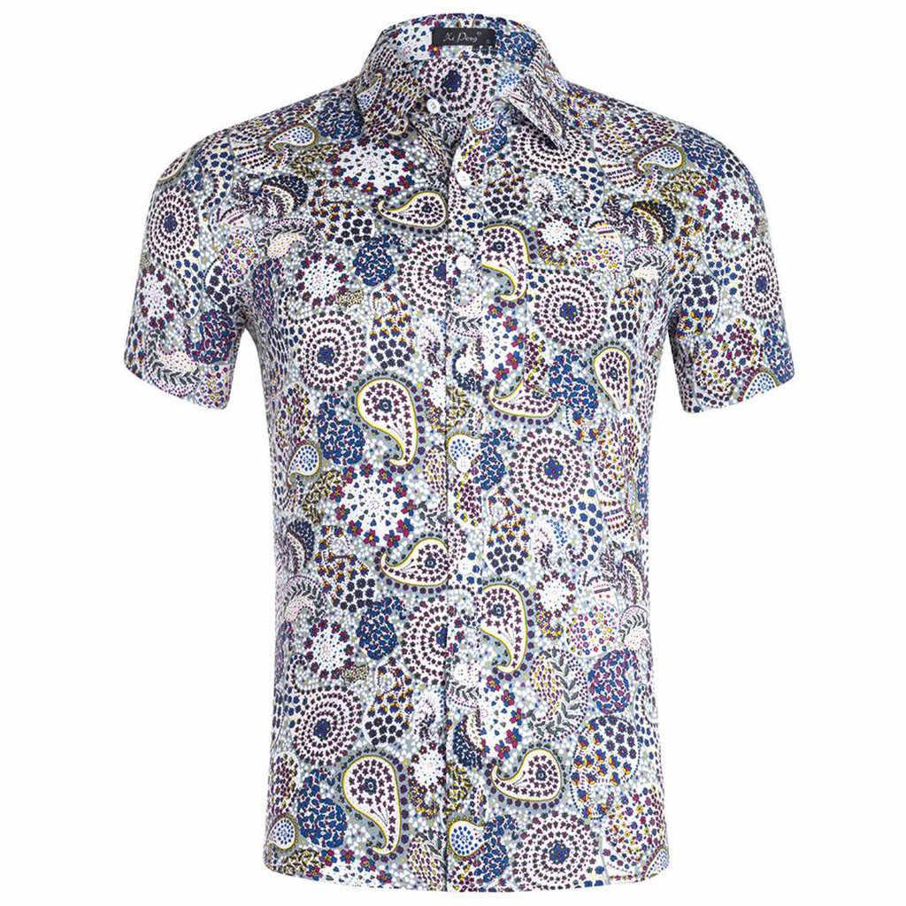 Feitong/Летняя Повседневная модная мужская рубашка с 3D принтом, с короткими рукавами, гавайская рубашка, мужская рубашка с цветочным принтом, camisas de hombre