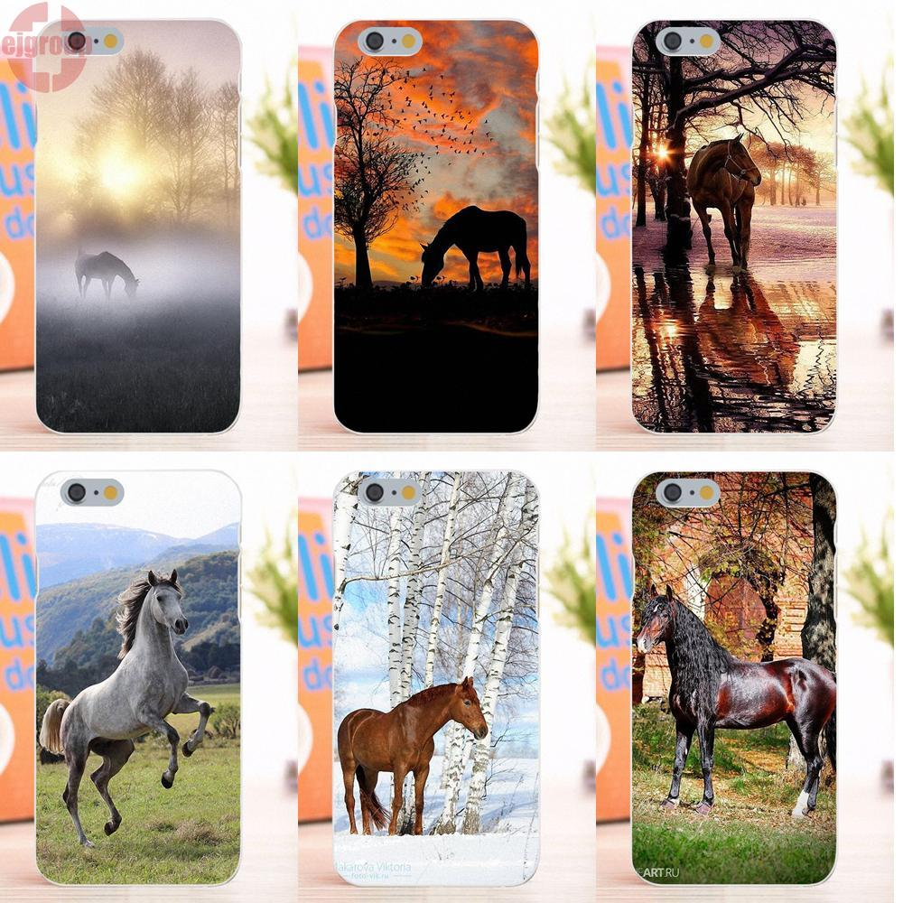 EJGROUP Sunset Horse Tree Birds Soft TPU Silicon Fashion Phone Case Cover For Apple iPhone 6 6S 4.7 inch