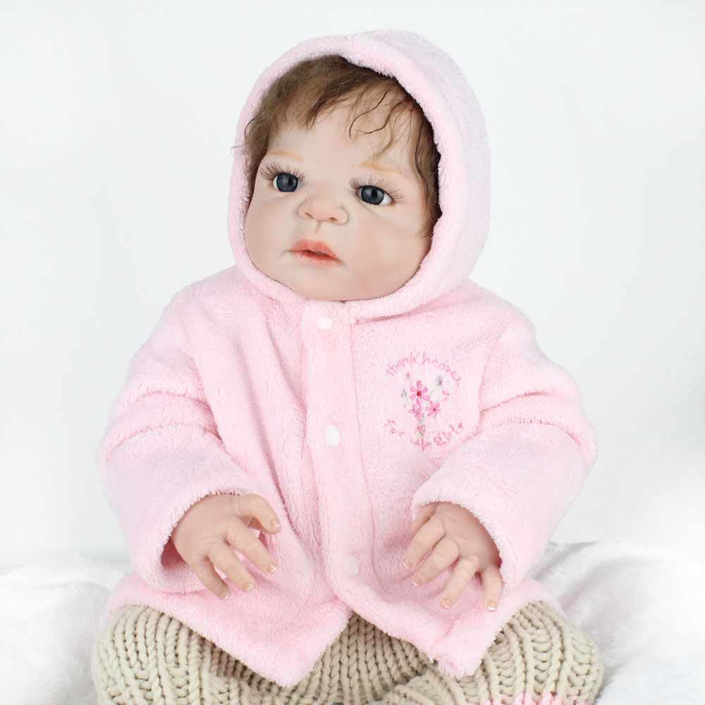 NPKDOLL 22 Inch Doll Full Body Silicone Reborn Baby Mohair Realistic Baby Doll Handmade Baby Girl Doll Gifts For Kids