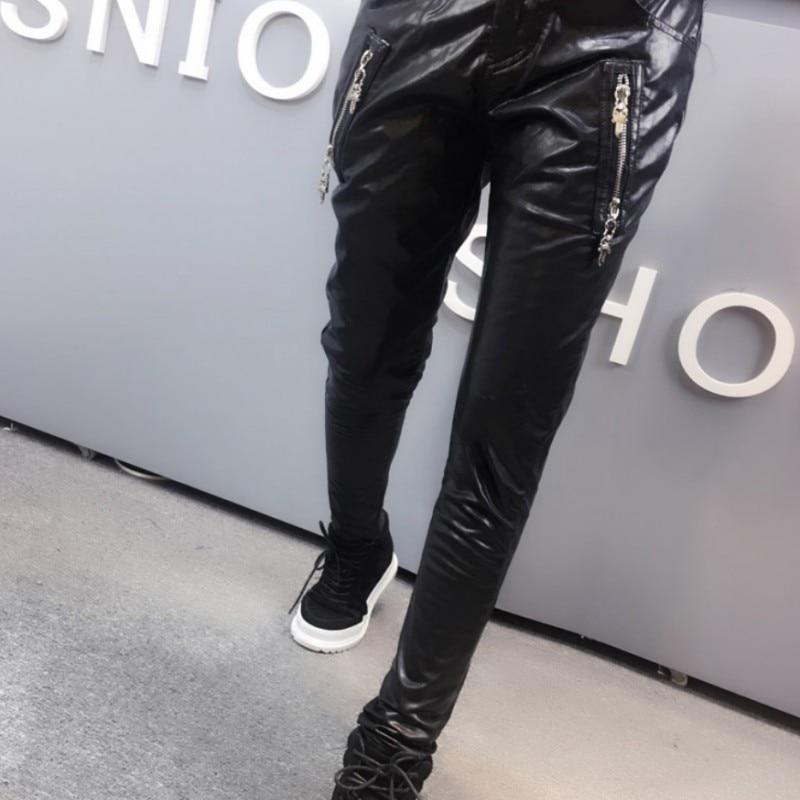 Nueva Pantalones Cremallera Fit Loose Tamaño Femenina Con Moda Sólido Black Plus Mujer Otoño Femininas Roupas Pu Harem Mujeres twXtAxCqR