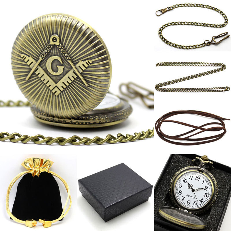 Conbays Freemasonry Masonic Vintage Antique Brass Plated Quartz Pocket Watch with Chain & Gift Box Bag Chain Pendant  Women Men antique retro bronze car truck pattern quartz pocket watch necklace pendant gift with chain for men and women gift