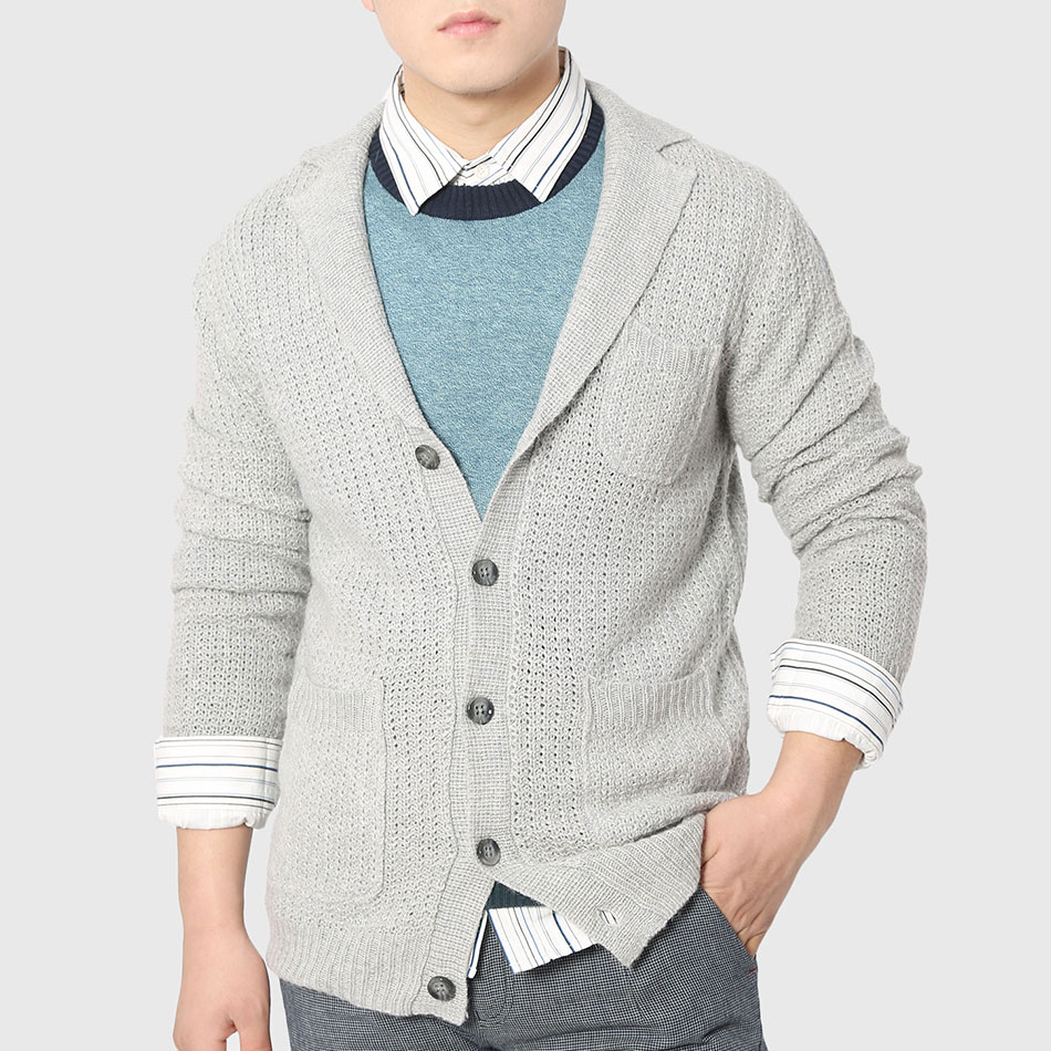 Men Plain Knitted Cardigan Long Sleeve Work Sweater Polo Collar ...