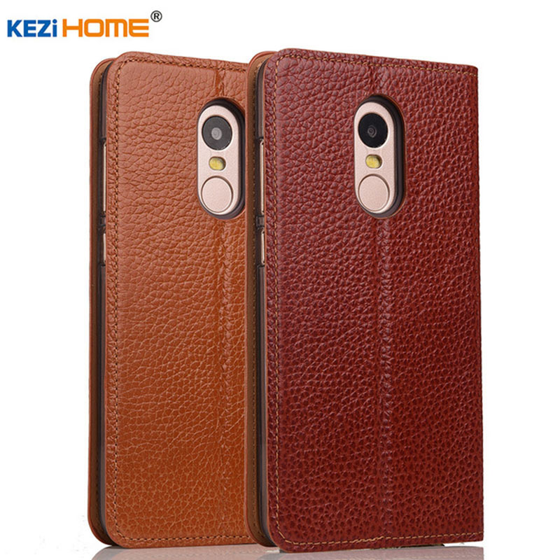 for Xiaomi Redmi 5 Plus case KEZiHOME Litchi Genuine Leather Flip Stand Leather Cover capa For Xiaomi Redmi 5 Plus 5.99'' cases