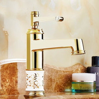 European Antique Gold Cold and Hot Water Tap Copper Faucet Bathroom Wash Basin faucet