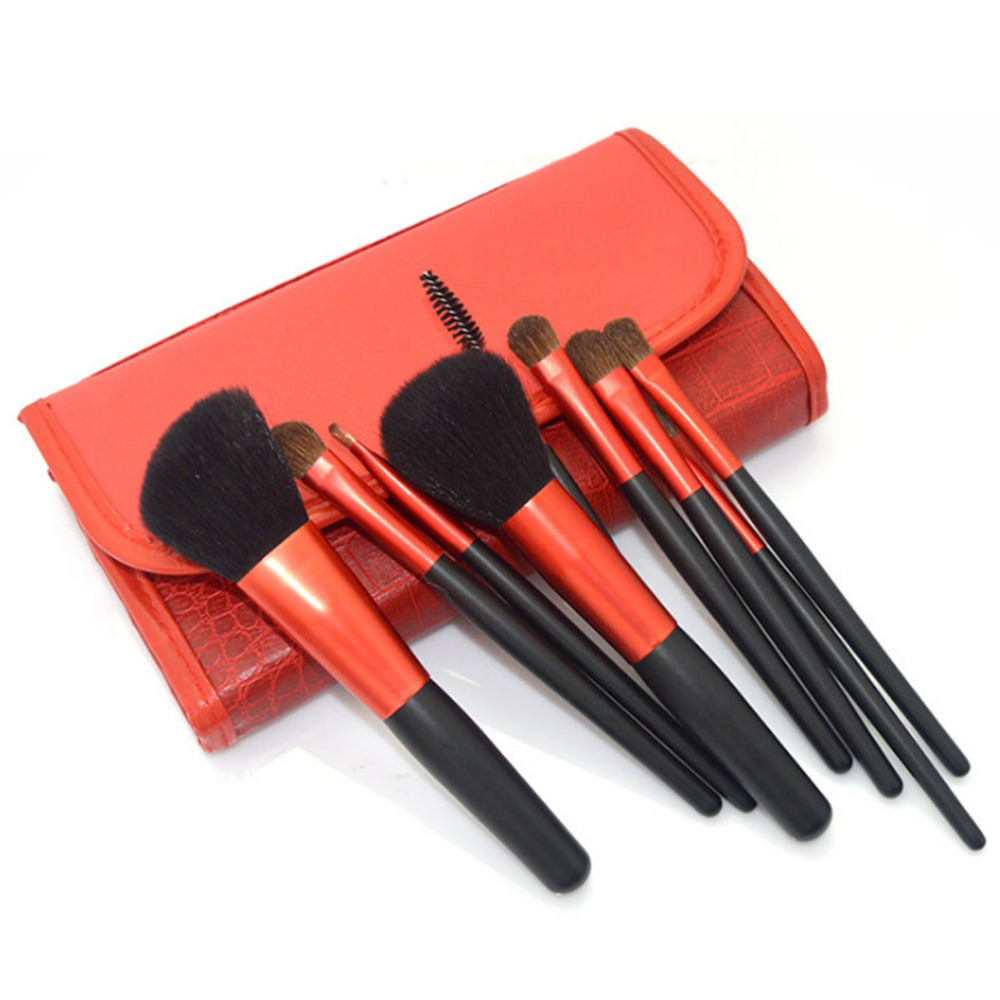 9 Pcs Professional Makeup Tool Kits Foundation Brush Professional Animal Hair Makeup Brush Set With a Brush Bag top quality top quality foundation brush angled makeup brush