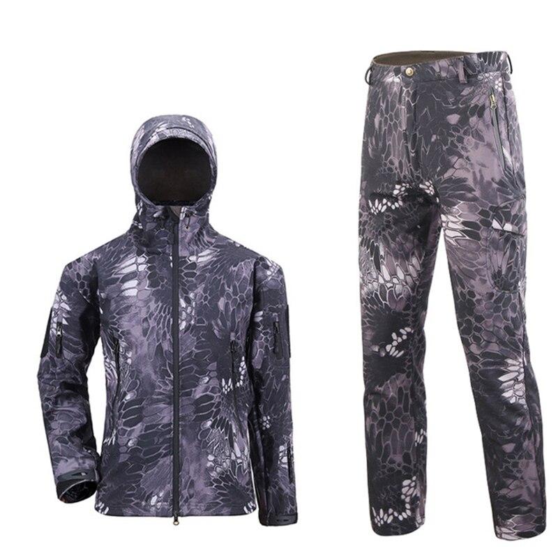 TAD tactique hommes armée chasse randonnée pêche explorer vêtements costume Camouflage peau de requin militaire imperméable à capuche veste + pantalon