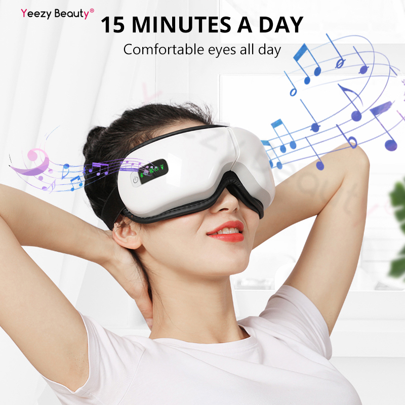 Smart Bluetooth Music Eye Massager Mask Wireless Vibrate Air Pressure Hot Compress Far infrared Relieve Dark