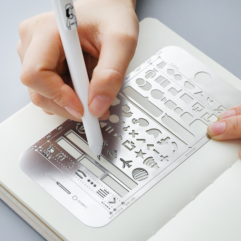 DIY Multi Function Ruler Book Mark IPhone UI Stencils Kits Cartoon Stainless Steel Mode For Planner Nail Decor Design