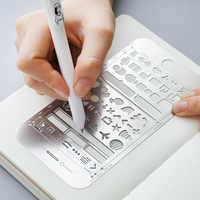 FAI DA TE Multi-Funzione Righello Libro di Mark iPhone UI Stencil Kit di Modalità Per Planner Del Chiodo Decorazione di Disegno Del Fumetto In Acciaio Inox