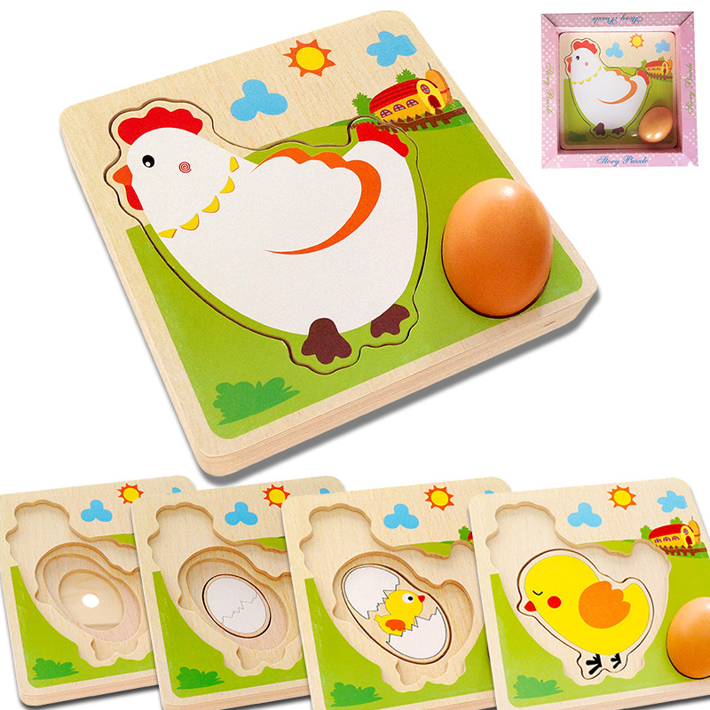 2017 new arrive wooden chicken hen growing eggs toy puzzle jigsaw puzzle LL82